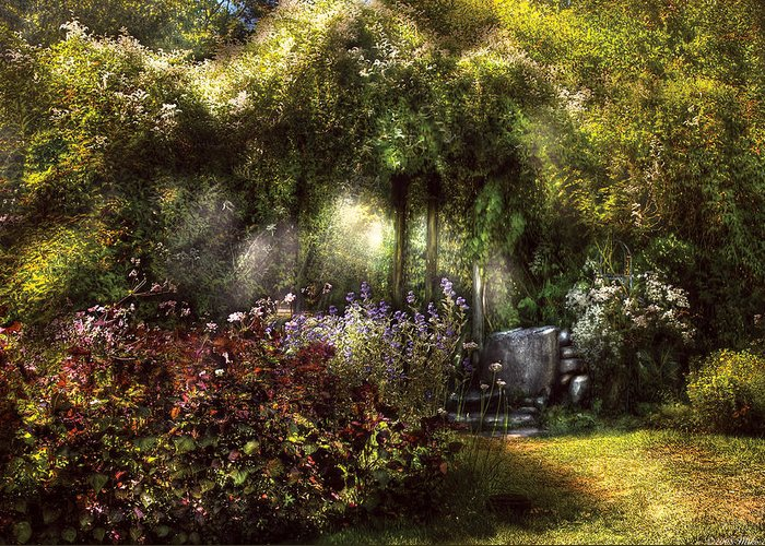 Savad Greeting Card featuring the photograph Summer - Landscape - Eve's Garden by Mike Savad
