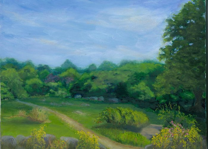 Landscape Greeting Card featuring the painting Summer Afternoon At Ashlawn Farm by Paula Emery