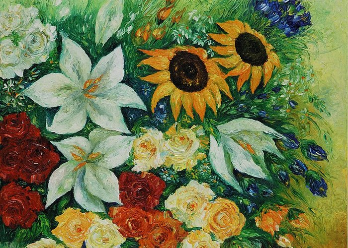 Flowers Greeting Card featuring the painting Summer Bouquet - Right Part Of Diptych. by Evgenia Davidov