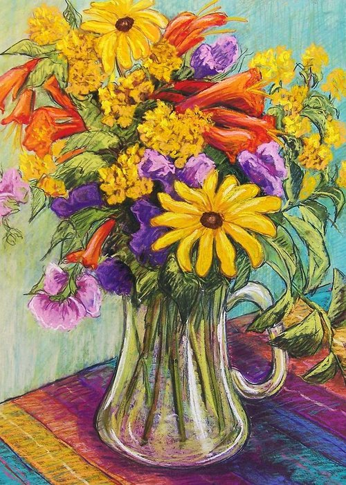 Still Life Greeting Card featuring the pastel Summer Bouquet by Candy Mayer