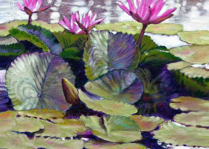 Water Lilies Greeting Card featuring the painting Summer Breeze by John Lautermilch