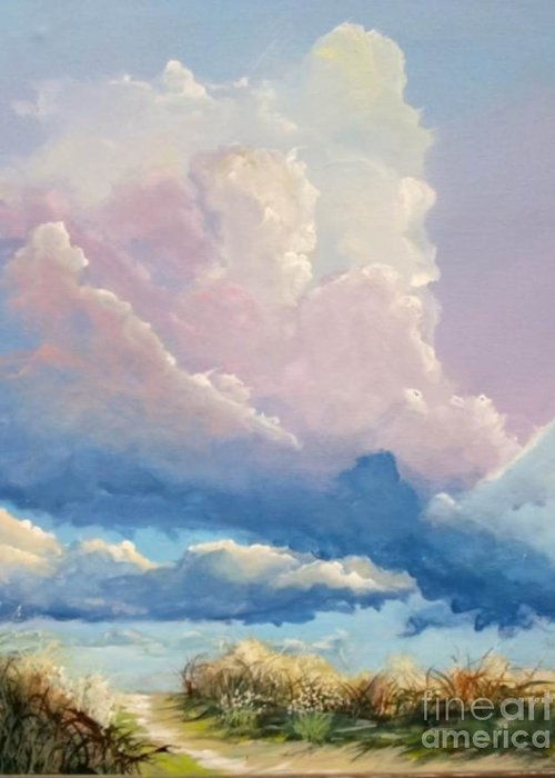 Landscape Greeting Card featuring the painting Summer Clouds by John Wise