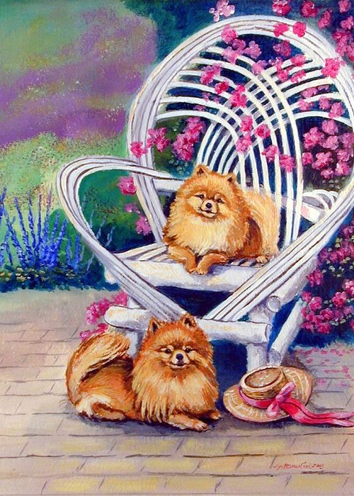 Pomeranian Greeting Card featuring the painting Summer Day - Pomeranian by Lyn Cook