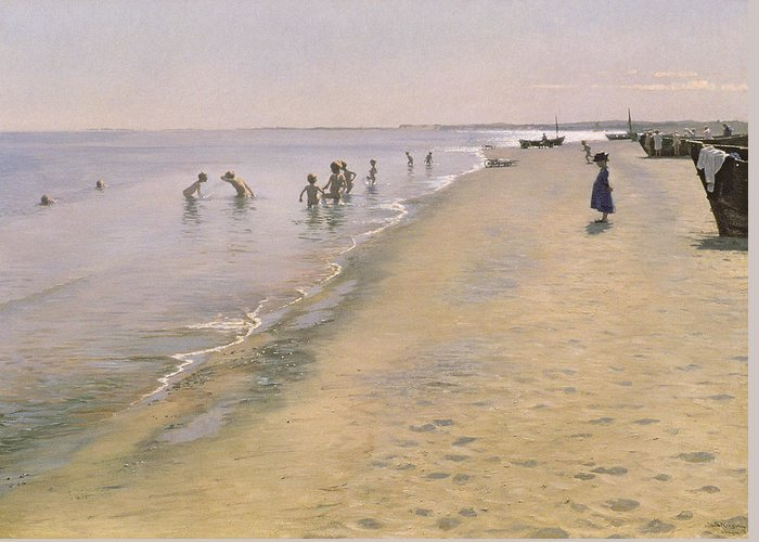 Summer Greeting Card featuring the painting Summer Day At The South Beach Of Skagen by Peder Severin Kroyer