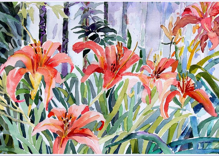 Day Lily Greeting Card featuring the painting My Summer Day Liliies by Mindy Newman