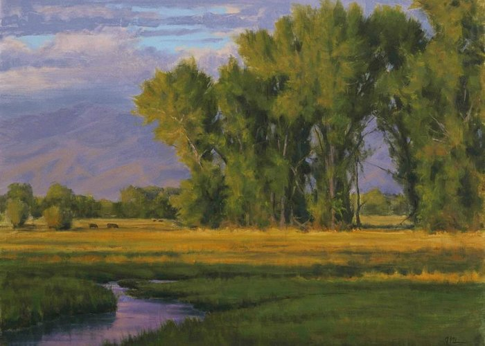 Rural Landscape Greeting Card featuring the painting Summer Evening In Bishop by Joe Mancuso