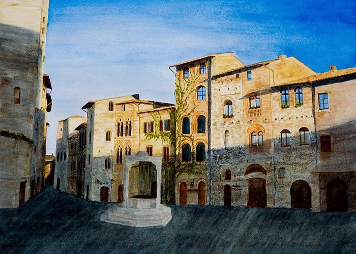 Landscape Greeting Card featuring the painting Summer Evening In San Gimignano by Monika Degan