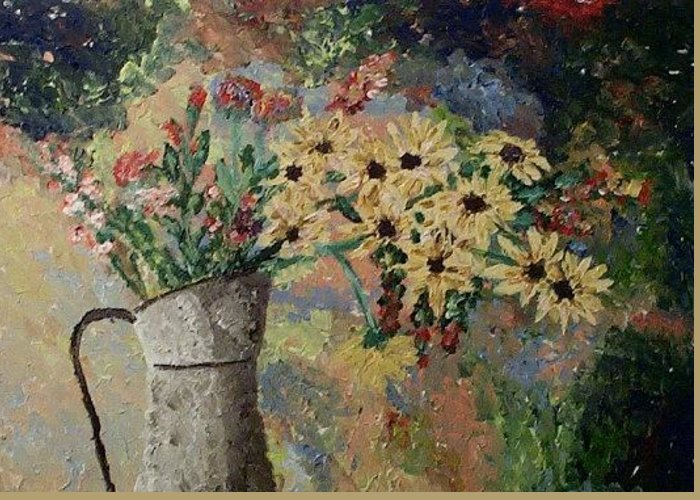 Still Life Greeting Card featuring the painting Summer Flowers by Mats Eriksson