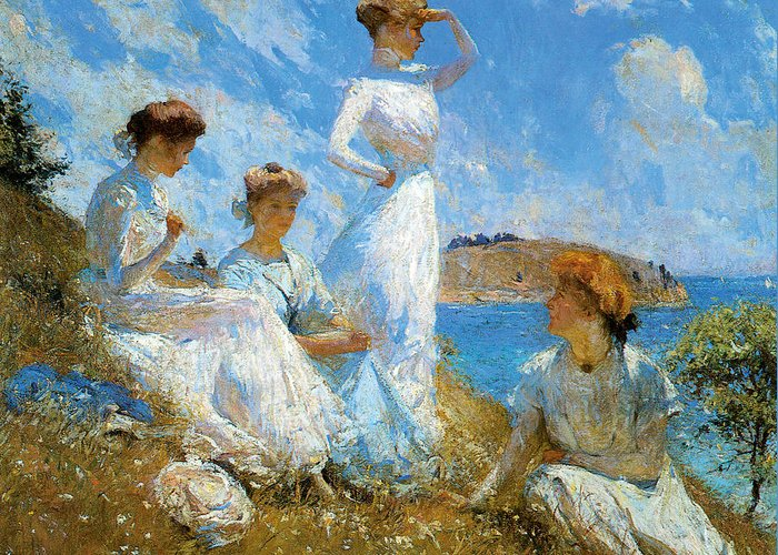 Frank Weston Benson Greeting Card featuring the painting Summer by Frank Weston Benson