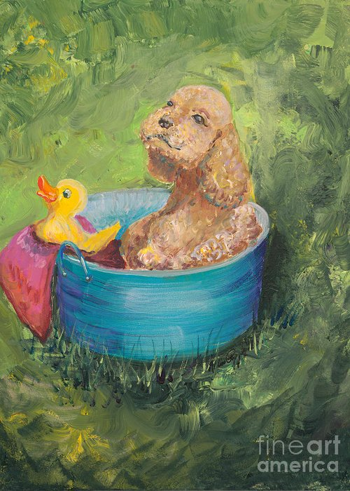Dog Greeting Card featuring the painting Summer Fun by Nadine Rippelmeyer