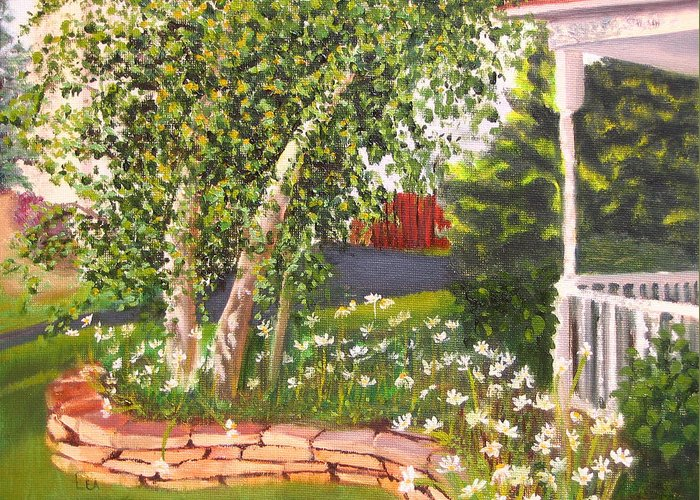 Daisies Greeting Card featuring the painting Summer Garden by Lea Novak