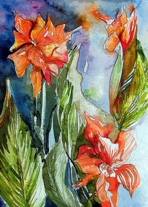 Gladiolas Greeting Card featuring the painting Summer Glads by Mindy Newman