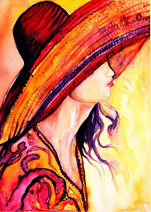 Elegant Lady Greeting Card featuring the painting Summer Hat by Carole Spandau