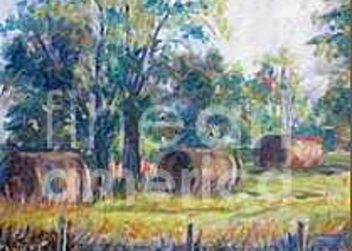 Landscape Greeting Card featuring the painting Summer Idyll by Jan Bennicoff