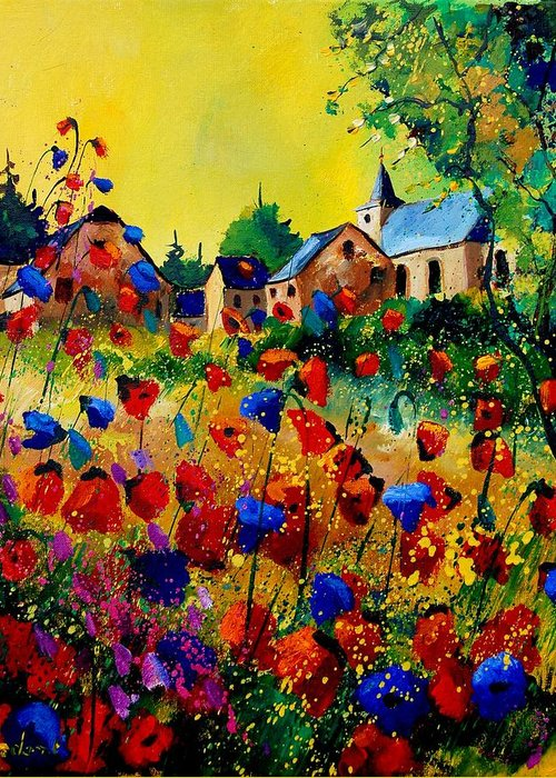 Poppy Greeting Card featuring the painting Summer in Sosoye by Pol Ledent