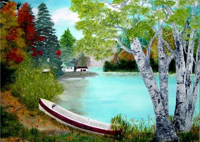 Beautiful Bracebridge Ontario Oil Painting Greeting Card featuring the painting Summer In The Muskoka's by Peggy Holcroft