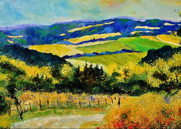 Landscape Greeting Card featuring the painting Summer Landscape by Pol Ledent