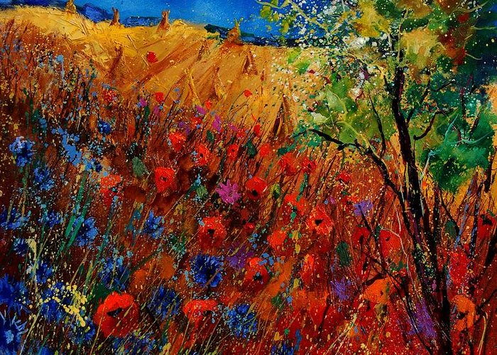 Flowers Greeting Card featuring the painting Summer Landscape With Poppies by Pol Ledent