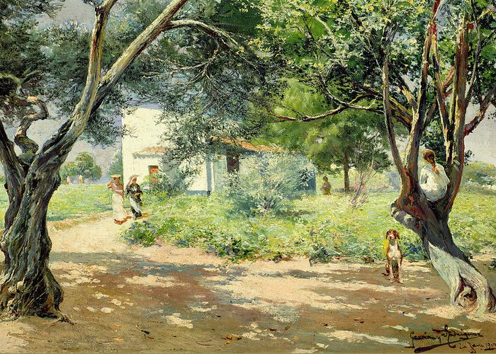 Summer Greeting Card featuring the painting Summer by Manuel Garcia y Rodriguez