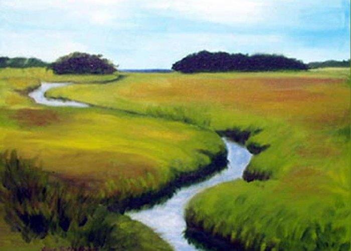 Landscape Greeting Card featuring the print Summer Marsh by Anne Trotter Hodge