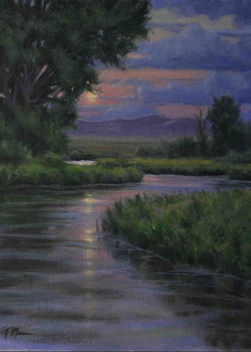 Summer Moonrise Greeting Card featuring the painting Summer Moon by Joe Mancuso