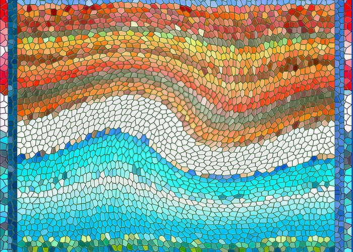 Colorful Greeting Card featuring the digital art Summer Mosaic by Melissa A Benson