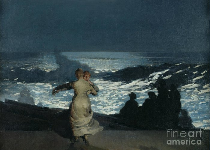 Winslow Homer Greeting Card featuring the painting Summer Night by Winslow Homer