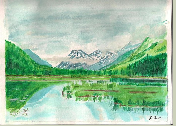 Summer Of Alaska Greeting Card featuring the painting Summer Of Alaska by Jashobeam Forest