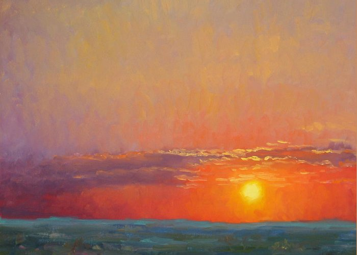 Sunset Greeting Card featuring the painting Summer Of The Red Sky by Bunny Oliver