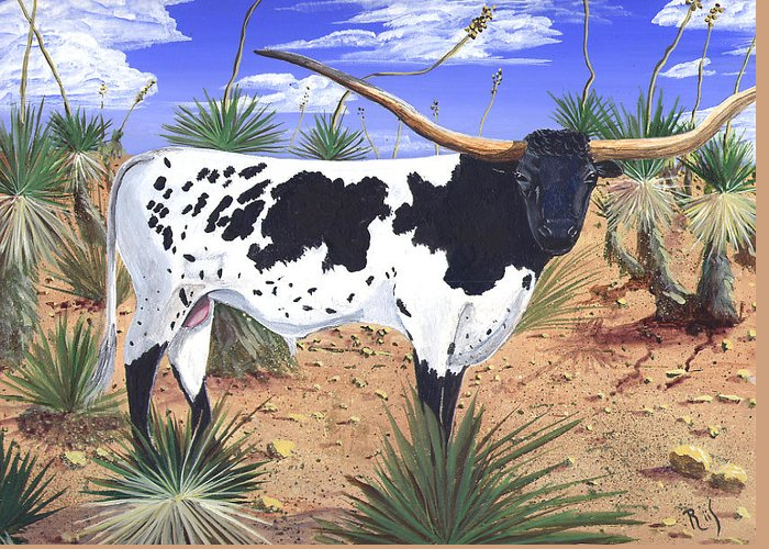 Western Art Greeting Card featuring the painting Summer On The High Mesa by Dan RiiS Grife
