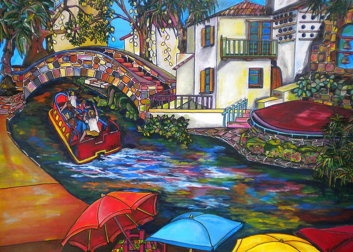 San Antonio Greeting Card featuring the painting Summer On The River by Patti Schermerhorn
