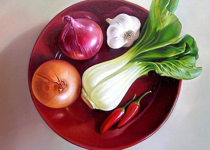 Still Life Greeting Card featuring the painting Summer Plate 2 by Elena Kolotusha