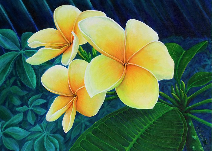 Summer Greeting Card featuring the painting Summer Plumeria by Leslie Moore