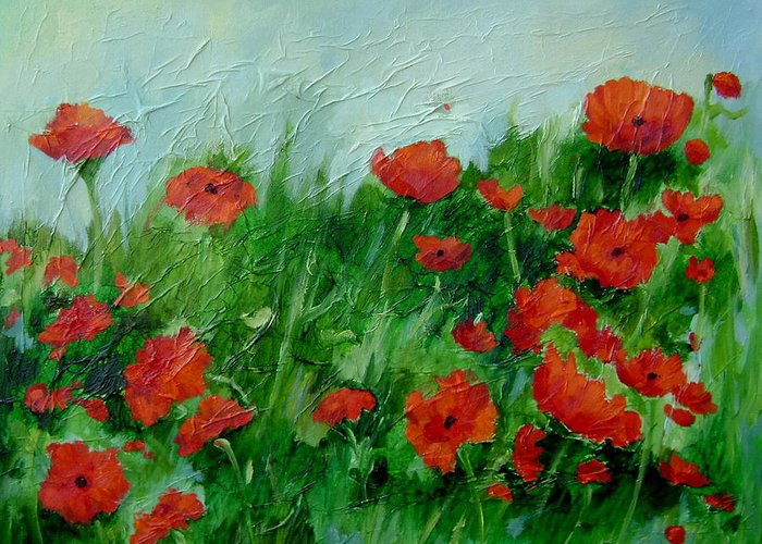 Red Poppies Greeting Card featuring the painting Summer Poppies by Ginger Concepcion