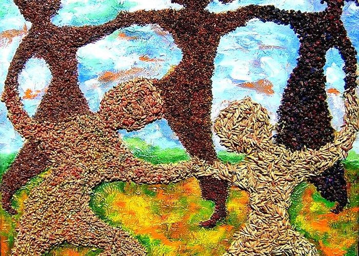 Summer Prairie Scene. Landscape Greeting Card featuring the painting Summer Prairie Dance by Naomi Gerrard