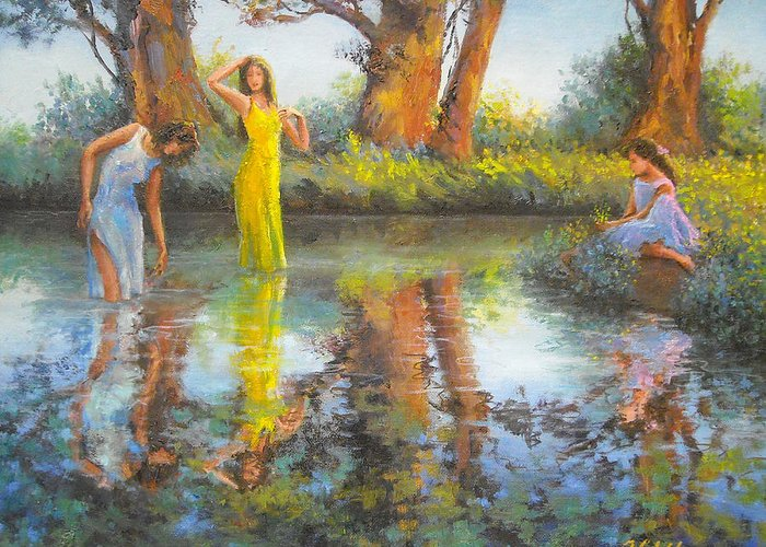 Women Greeting Card featuring the painting Summer Romantism. by Julia Utiasheva