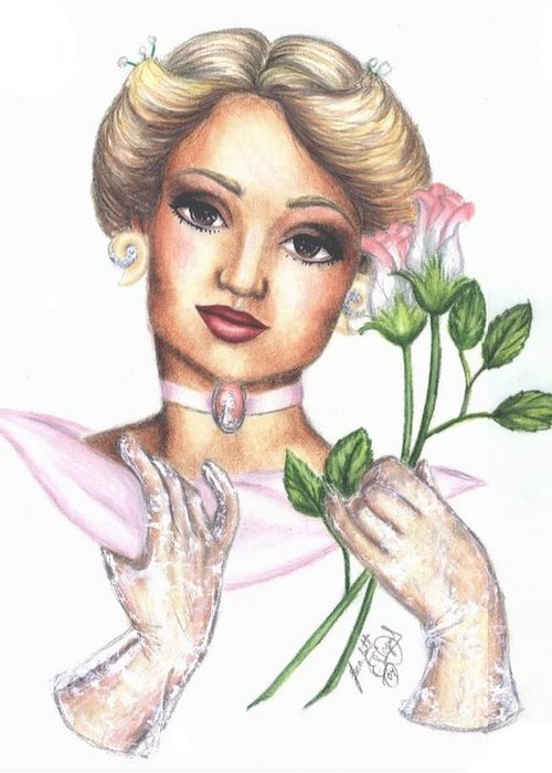 Portrait Greeting Card featuring the drawing Summer Rose by Scarlett Royal