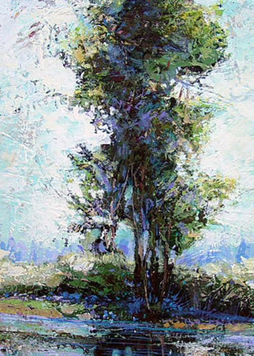 Landscape Sketch Greeting Card featuring the painting Summer Shade by Dale Witherow