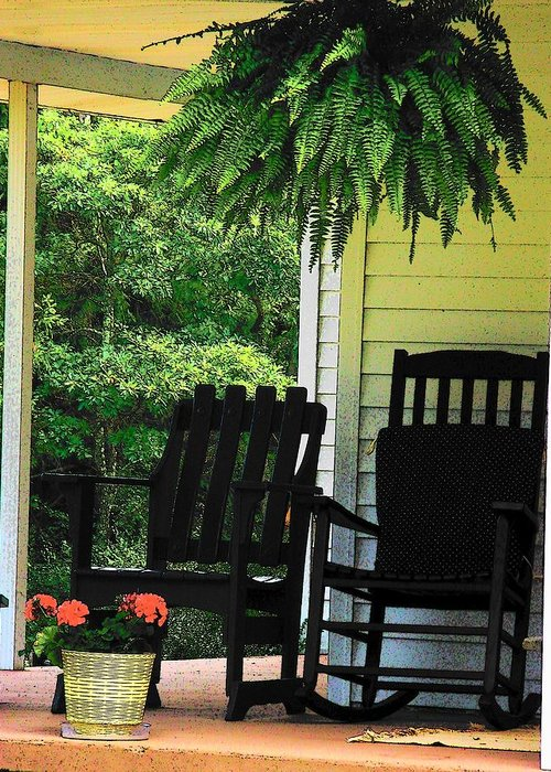 Rocking Chairs Greeting Card featuring the photograph Summer Sitting by Joyce Kimble Smith