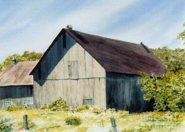 Barn Greeting Card featuring the painting Summer Solitude by Jackie Mueller-Jones