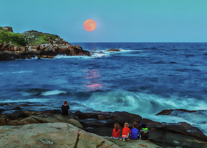 York Maine Greeting Card featuring the photograph Summer Solstice Strawberry Moon by Larry Richardson