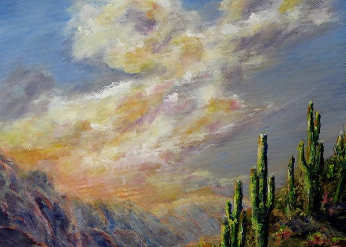 Larizona Andscape Greeting Card featuring the painting Summer Sunrise by Thomas Restifo