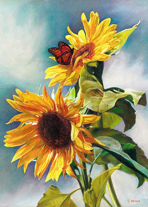 Sunflower Greeting Card featuring the painting Summer by Svitozar Nenyuk