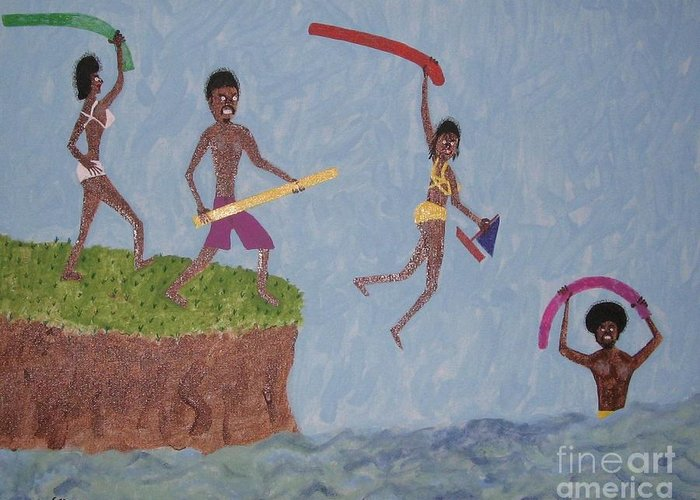 Swimming Greeting Card featuring the painting Summer Time Fun by Gregory Davis