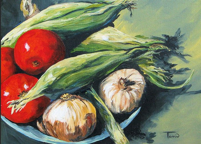Onion Greeting Card featuring the painting Summer Vegetables by Torrie Smiley