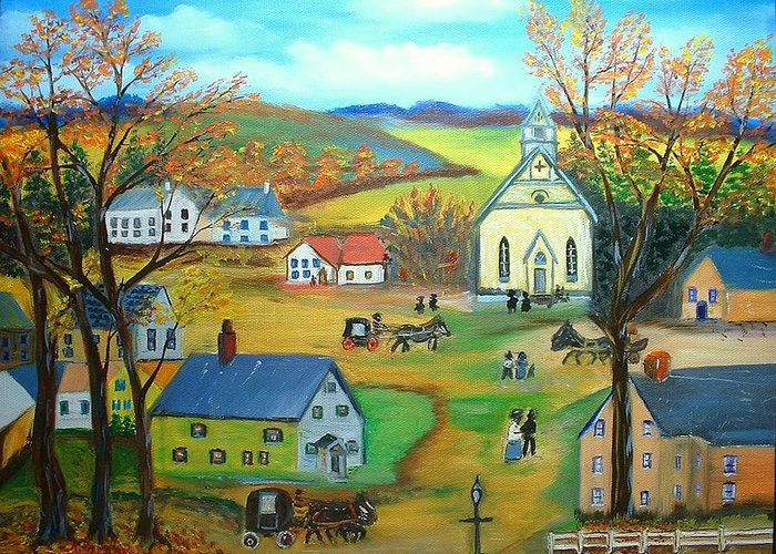 Landscape Village House Barn Church Folk Art Greeting Card featuring the painting Summer Village by Kenneth LePoidevin
