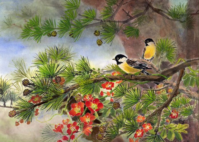 Chinese Trumpet Vine Greeting Card featuring the painting Summer Vine With Pine Tree by Eileen Fong