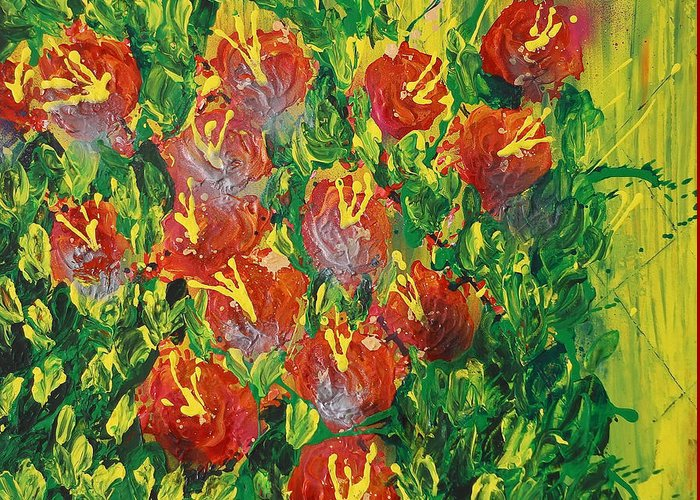 Flower Greeting Card featuring the painting Summer's Bloom by Connie Leah Fantilanan