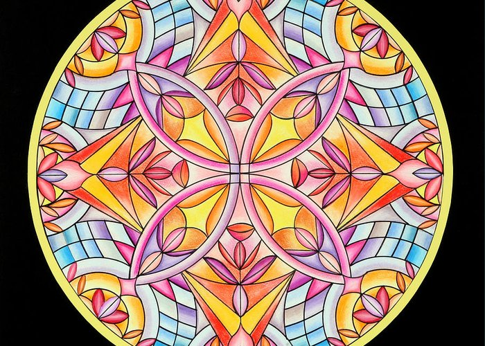 Mandala Greeting Card featuring the painting Summer's Delight by Marcia Lupo