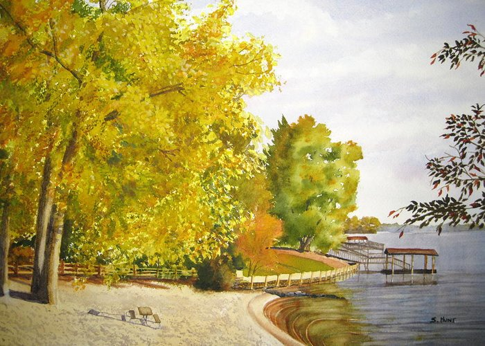 Landscape Greeting Card featuring the painting Summer's End by Shirley Braithwaite Hunt